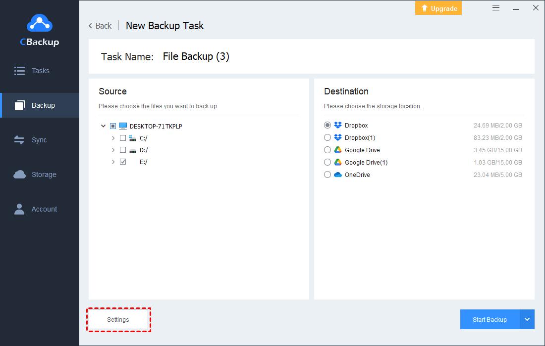 Backup Filter Settings New Task