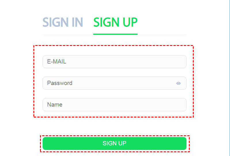 Sign Up Type Pwd