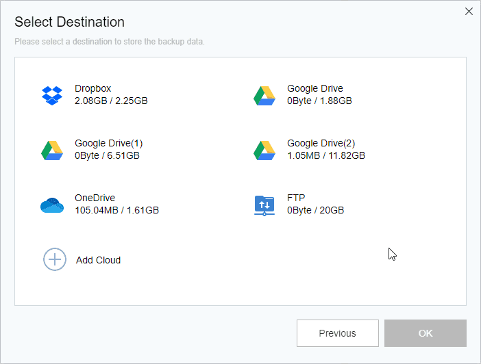 Cloud Backup Select Cloud Drive