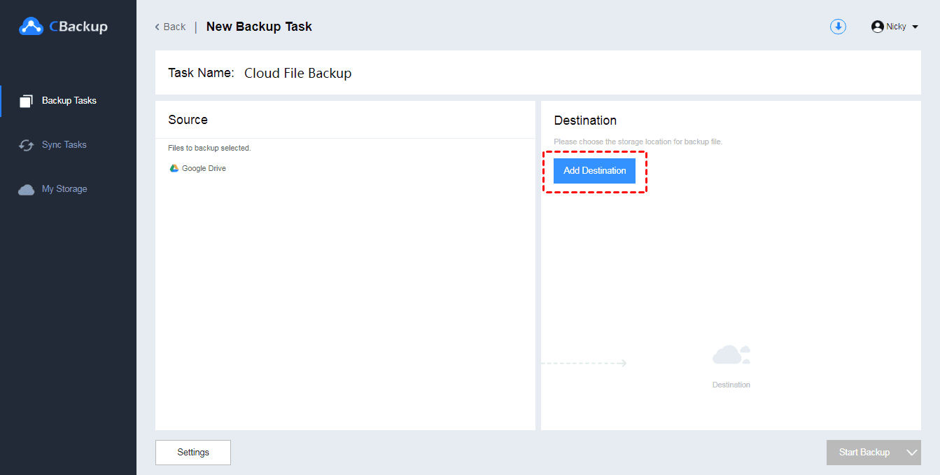 Cloud Backup Select Destination0