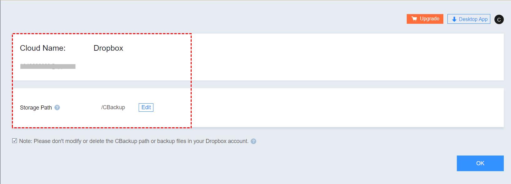 Edit Dropbox Settings