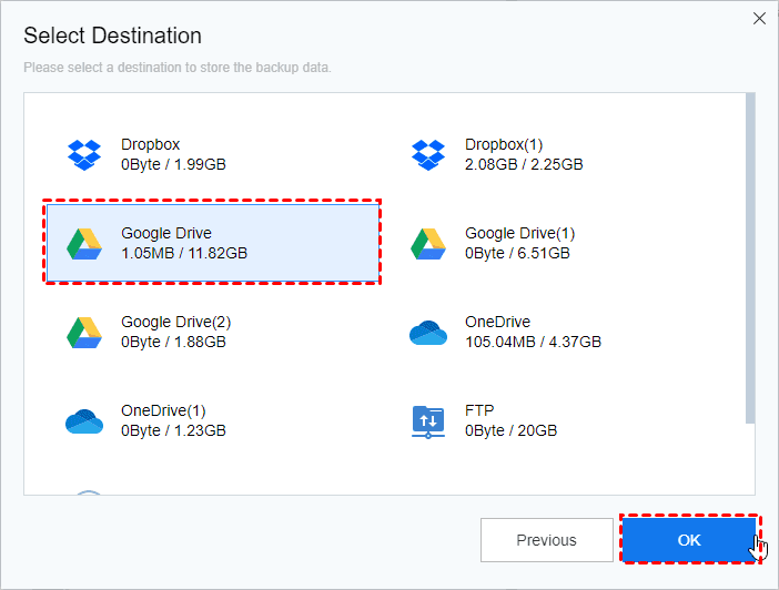 Add Destination Google Drive