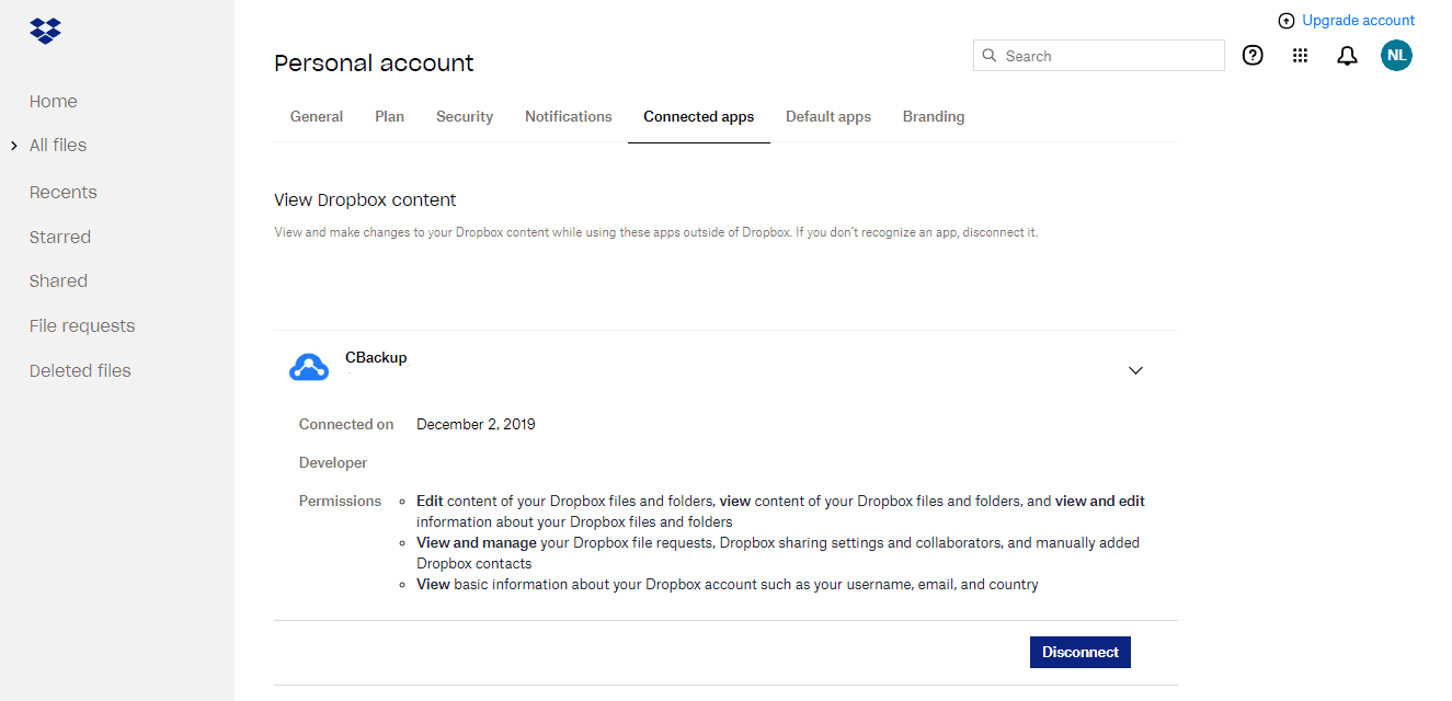 Dropbox Disconnect