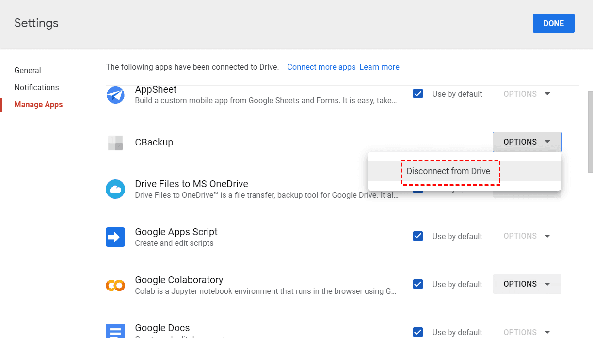 Google Drive Disconnect from Drive