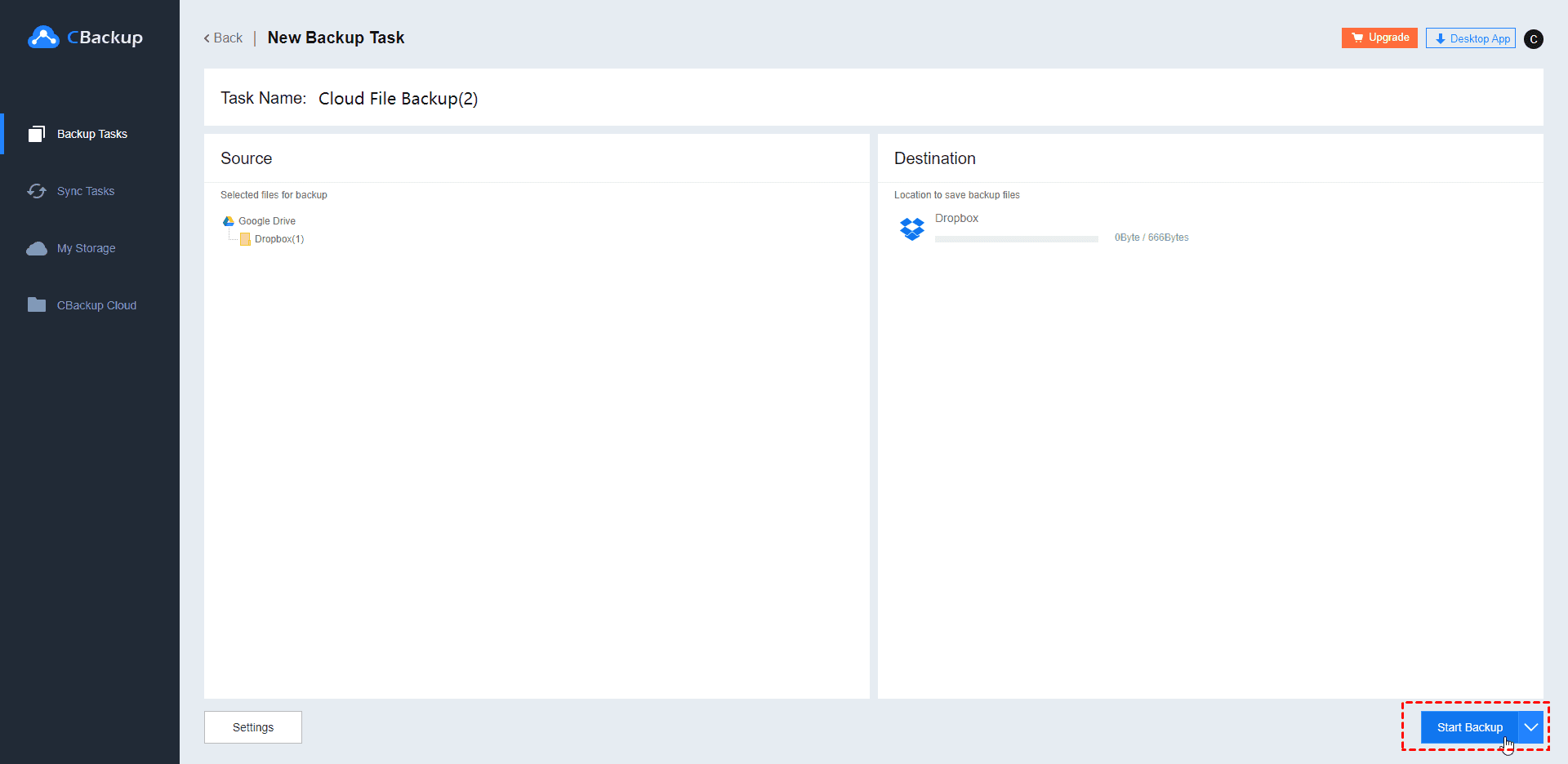 Start Backup