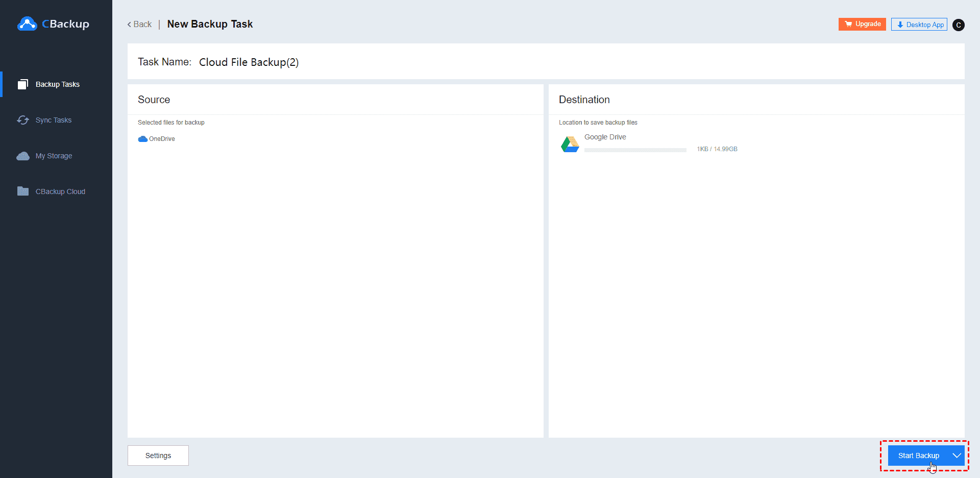 OneDrive to Google Drive