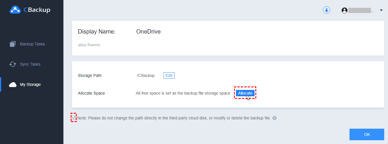 Allocated Space OneDrive