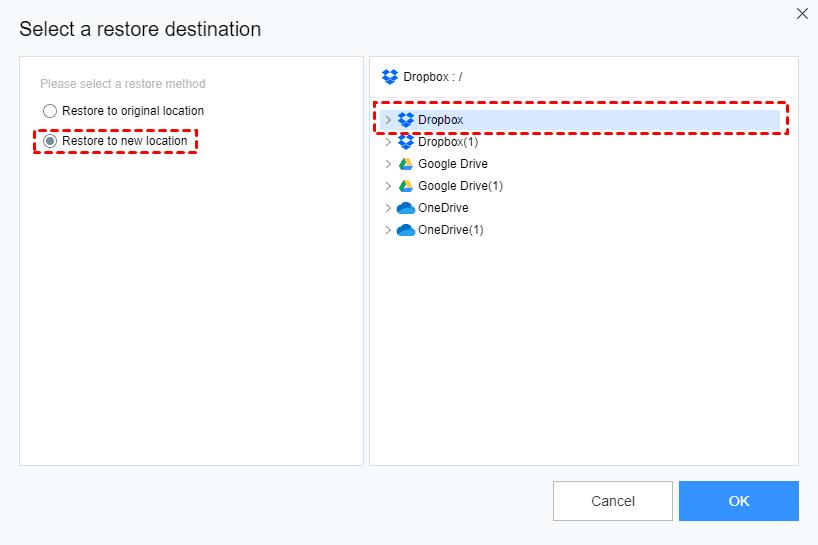 Select Destination New