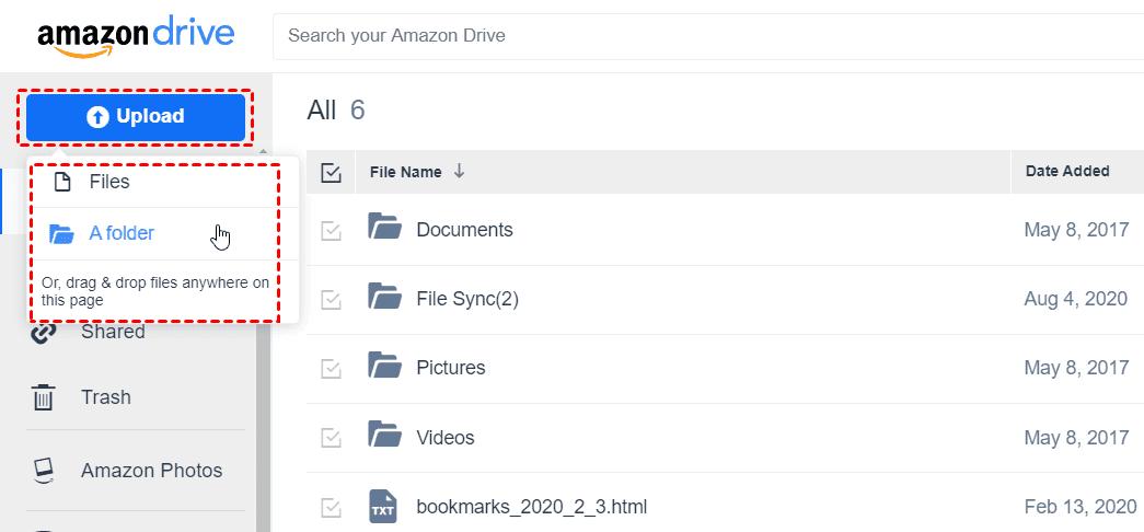 Amazon Cloud Drive Upload Files