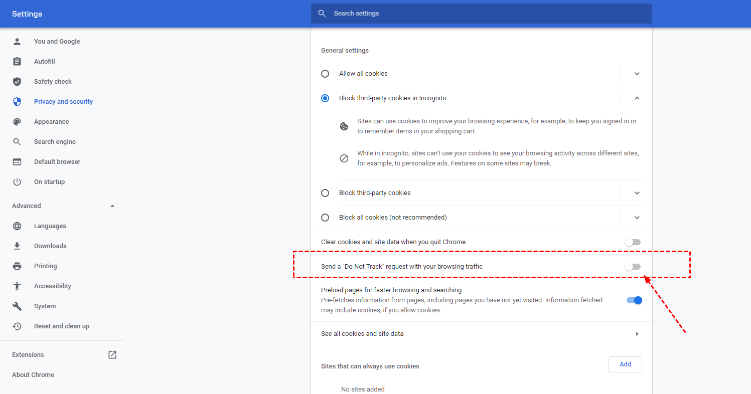Unable Do Not Track Setting