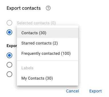 Google Contacts Export Contacts