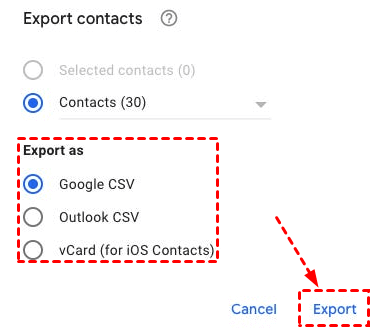 Google Contacts Exporting Methods