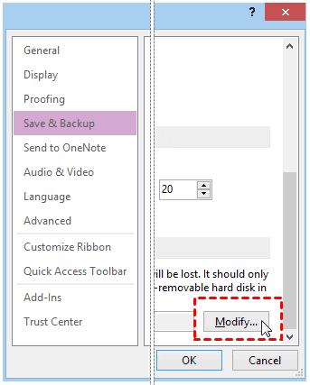 Backup OneNote Modify
