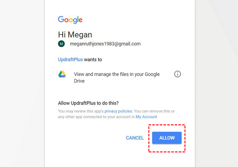 Click Allow To Connect Updraftplus Gdrive