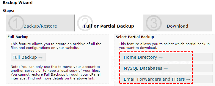Full Or Partial Backup