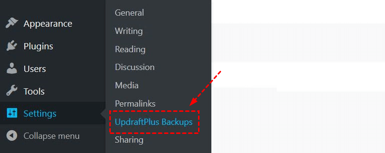 Settings Updraftplus Settings