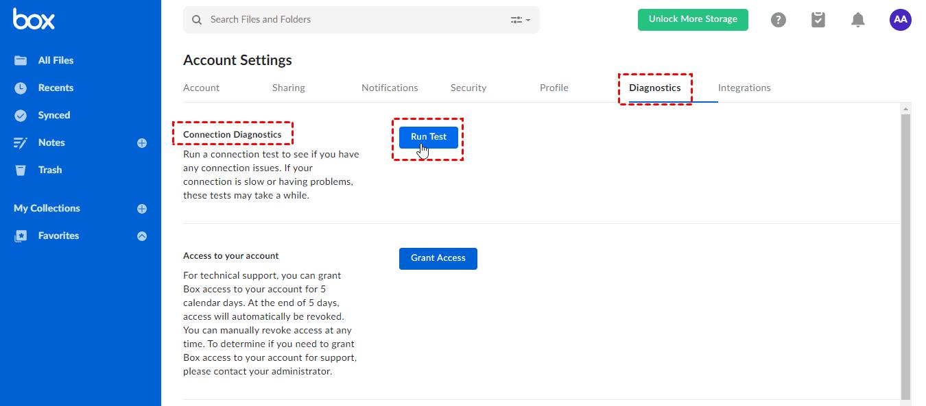 Box Connection Diagnostics Run Test