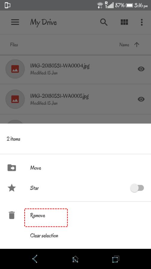 Google Drive Mobile App Remove