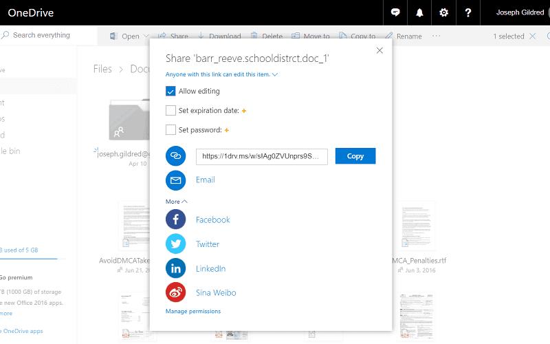 OneDrive Sharing