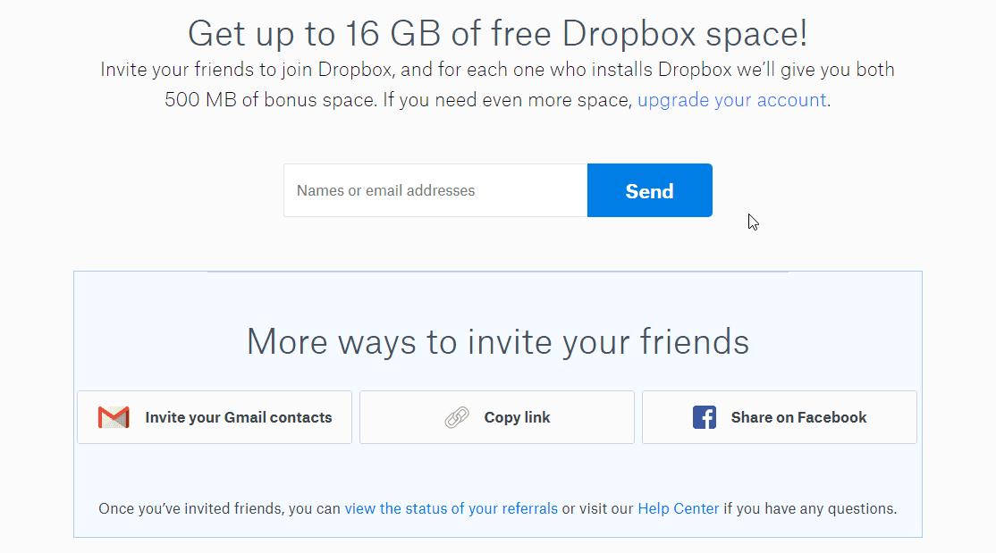 Dropbox Up to 16 GB