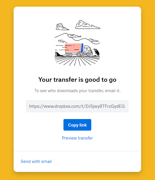Copy Link Send With Email