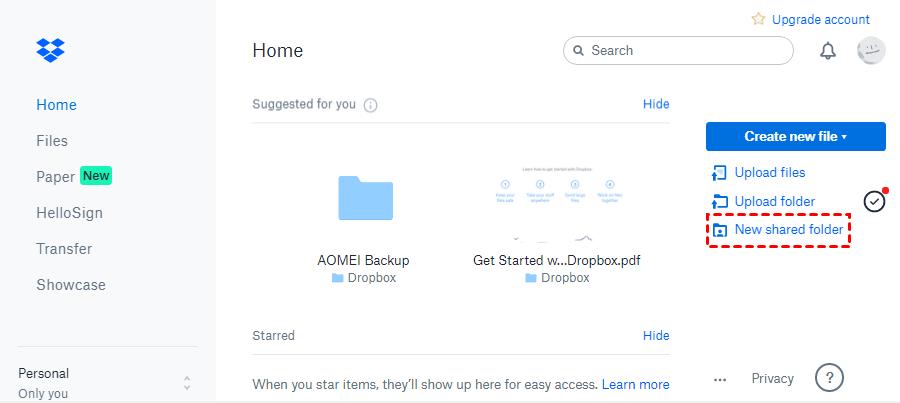 Create New Shared Folder