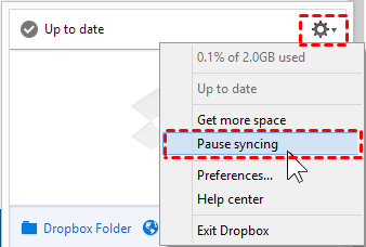 Dropbox Pause Syncing