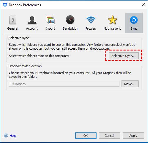 Dropbox Selective Sync Windows