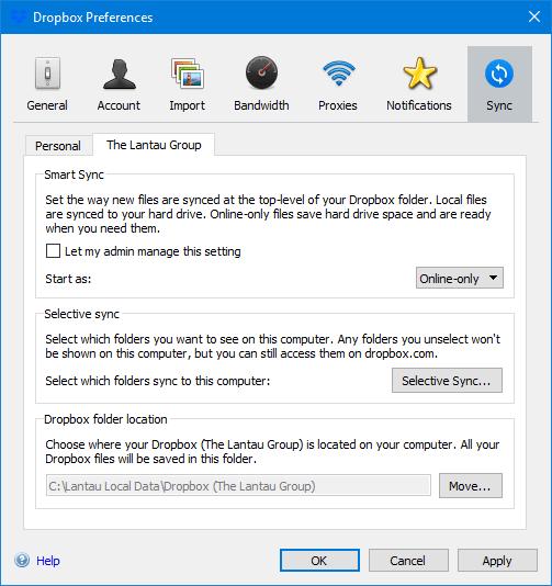 Dropbox Sync Tab