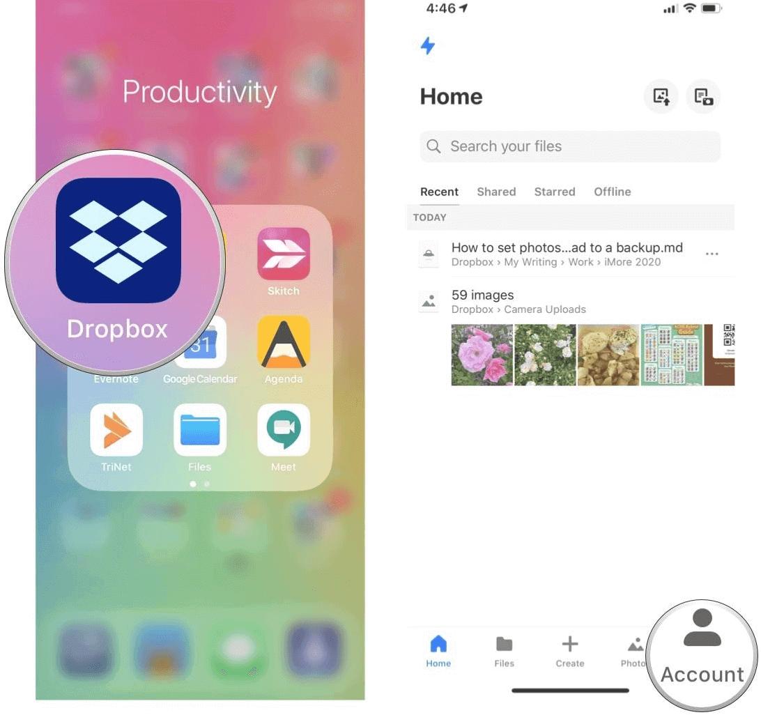 iPhone Dropbox Account