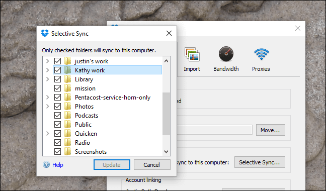Selective Sync Update