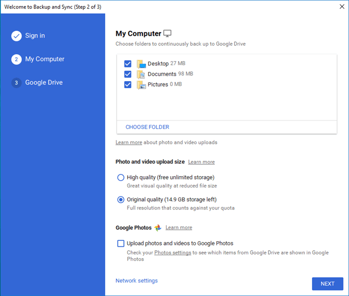 Google Drive Backup and Sync Get Started