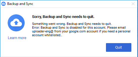 Sorry, Backup and Sync needs to quit