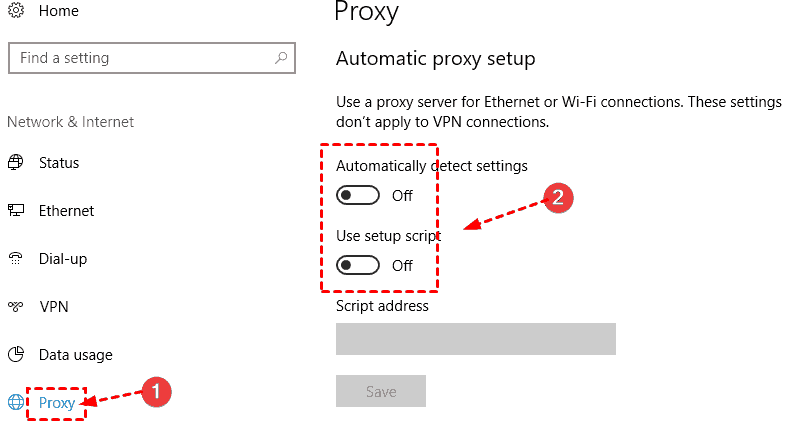 Proxy Disable All Options