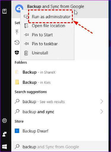 Run Backup And Sync As Administrator