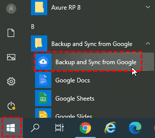 Start Google Backup And Sync