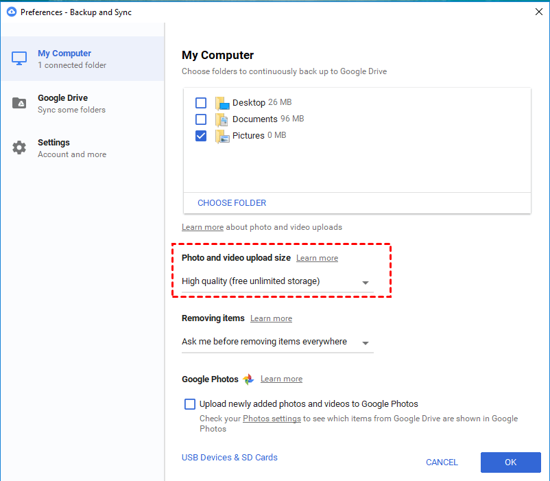 Backup and Sync high quality