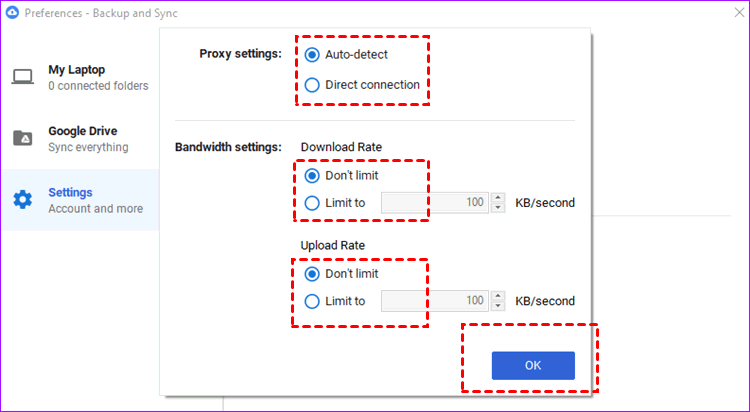 Check Proxy And Bandwidth Settings