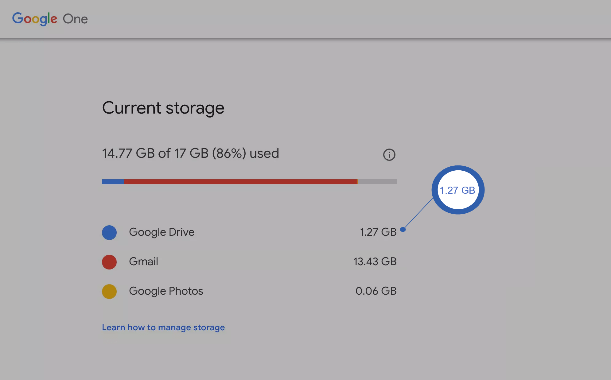 Google Backup and Sync Storage