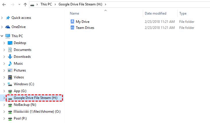 Google Drive File Stream in Explorer