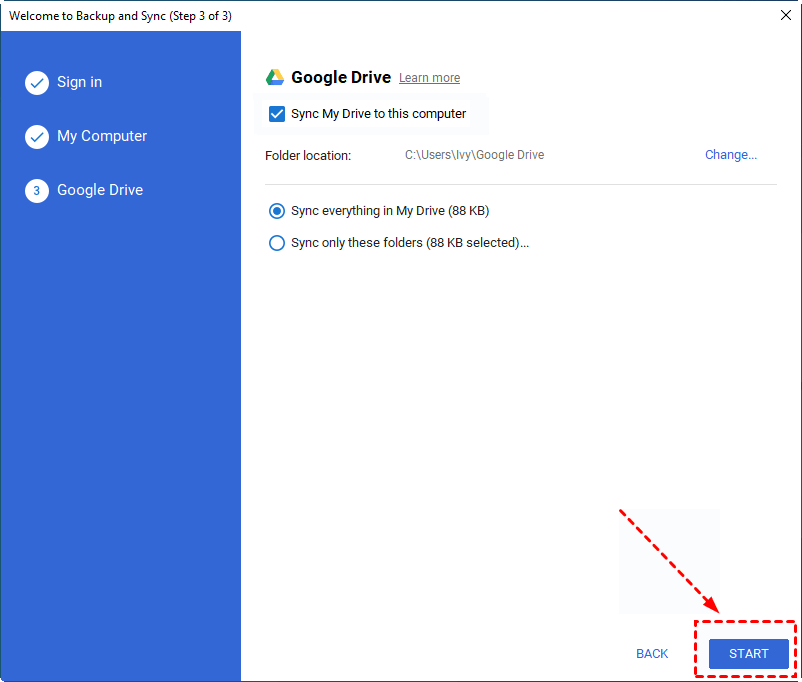 Google Backup and Sync Start