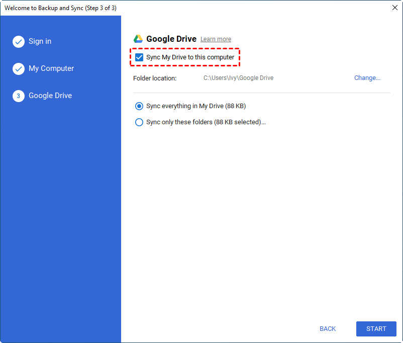 Sync Gooogle Drive Folder