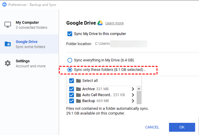 Sync only these folders