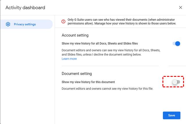 Google Doc Activity Dashboard