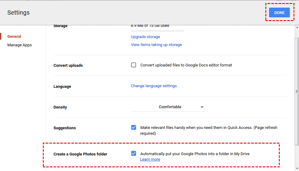 Create a Google Photos folder in Google Drive