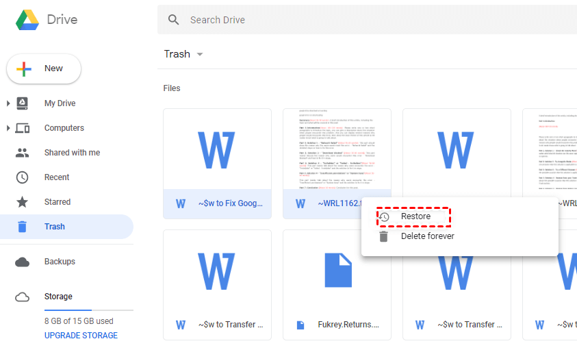Google Drive Files Missing