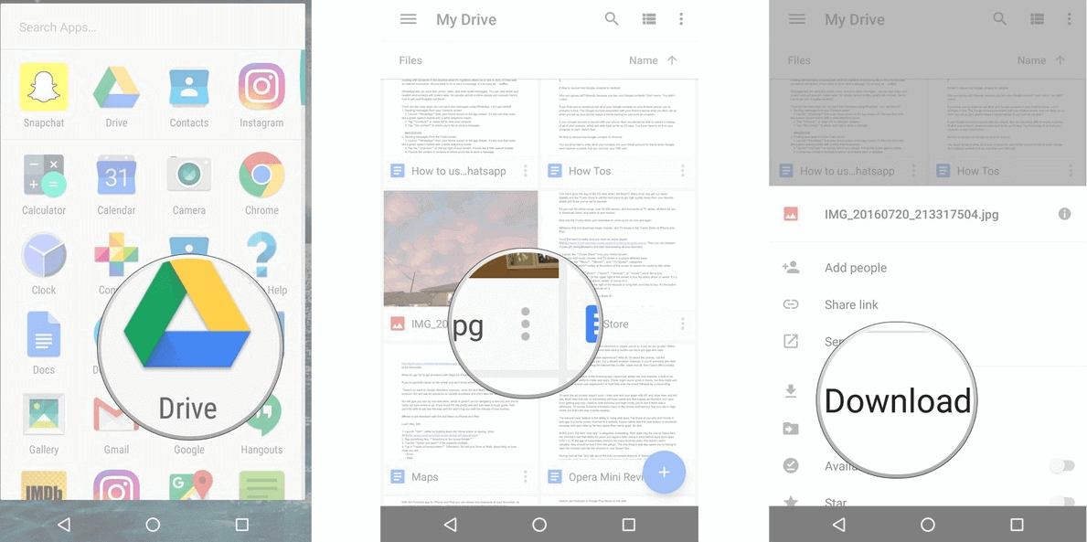 Google Drive download flies on Android