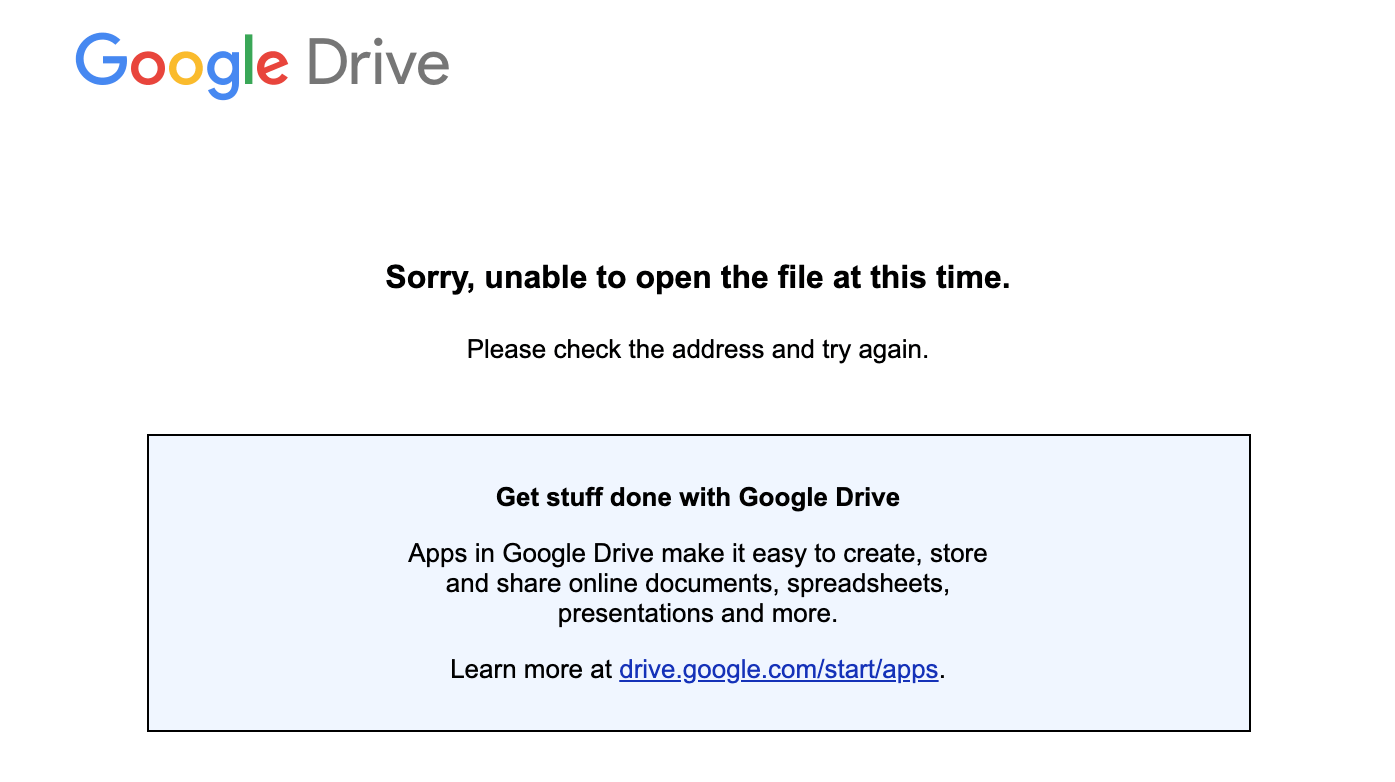 Unable to open tthe fileat this time