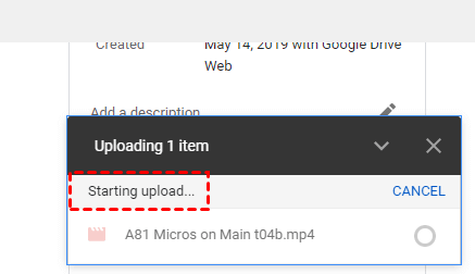 Google Drive Starting Upload