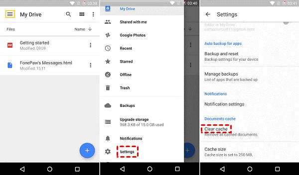 Google Drive Clear Cache